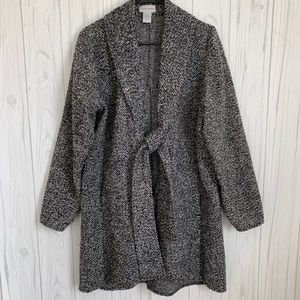 Soft Surroundings Tie Front Black & White Sweater
